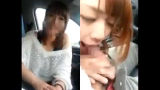 【個人撮影】ガチ不倫!車内でフェラする人妻をスマホ撮り!